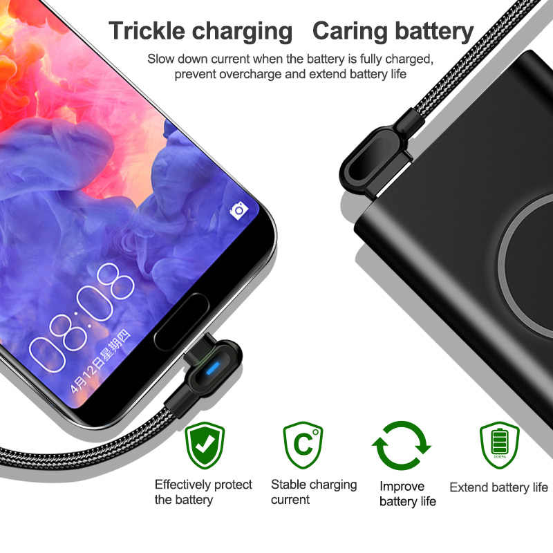 Olaf 90 Derajat 1M 2M Cepat Pengisian Micro USB Tipe C Kabel untuk Samsung S8 S9 S10 Xiaomi huawei LG Android MICRO USB USB-C Charger