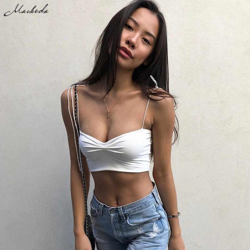Macheda Sexy Solid Adjustable Camis Crop Top Women Backless Summer Top Ladies Slim Wild Short Retro Tank Tops 2019 New