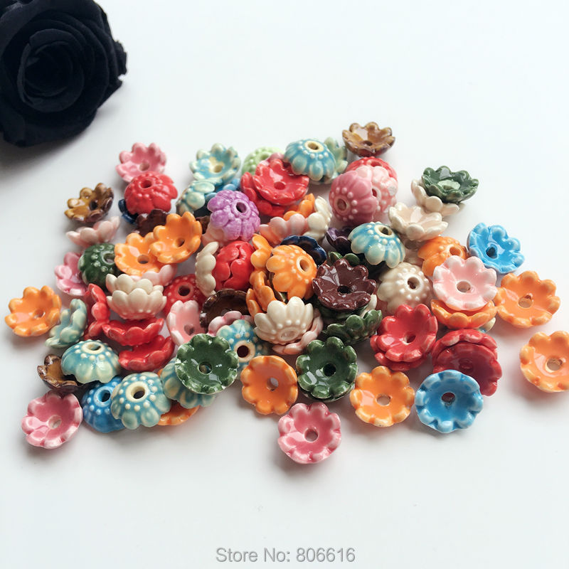 10MM 100Pcs Handmade Flower China Ceramic Porcelain Bead Caps Jewelry Findings Accessories