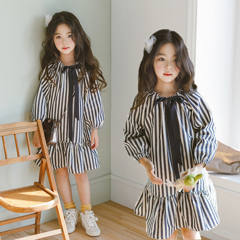Bow Girls Dress 2019 New Bow Baby Autumn Dress Black White Stripe Kid Princess Dress Children Clothes Toddler Cotton Dress,#2265