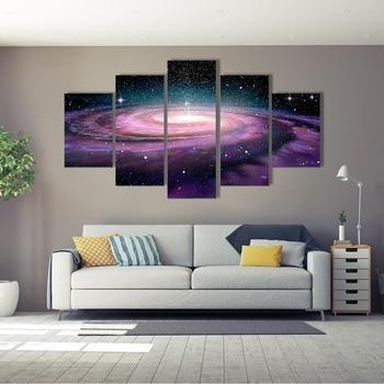 Carteles modulares impresos en HD para decoración del hogar, pinturas de 5 paneles con paisaje de galaxia en espiral en el espacio profundo, cuadros artísticos de lienzo para pared
