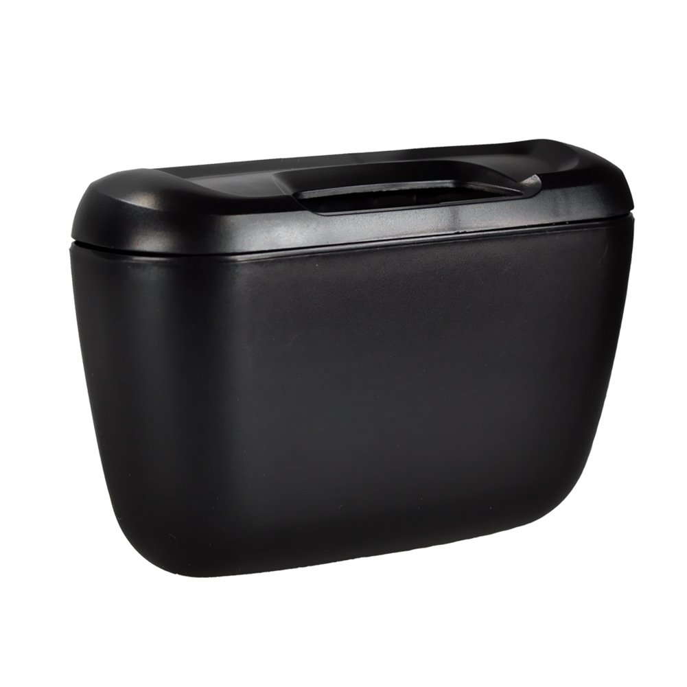 Black Tone Plastic Compact Trash Can Garbage Bin for Car Auto