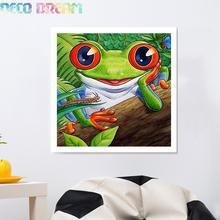 купить Diy Full Resin Round Diamond Painting Rhinestones Embroidery Kit Happy Frog Cute Animal Cartoon Mosaic Decor As Good Hobby Gift дешево