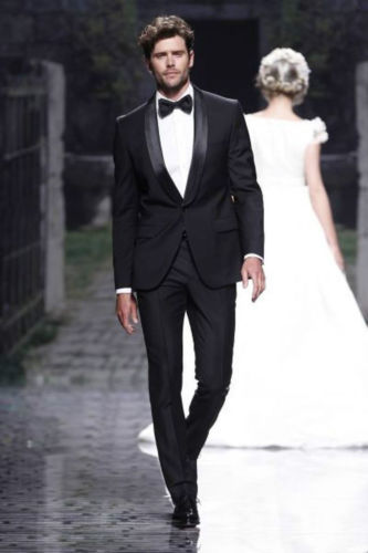 Best Ing Mens Wedding Suit 2016 Custom Dark Black Satin Lapel Groom Tuxedos Man Groomsmen Suits In From Men S Clothing