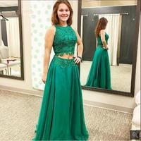 Plus Size Emerald Green Lace Long Prom Dresses 2 Piece 2017 Robe De Soiree Formal Sleeveless