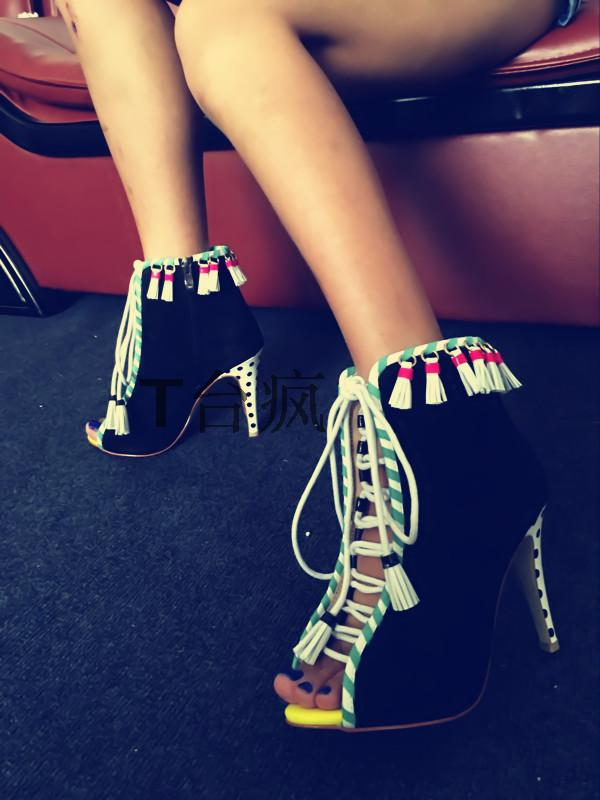2017 Top Selling High Quality Dress Shoes Women Peep Toe Cut-outs High Heel Booties Lace Up Fringe Detail Ankle Boots fringe detail geometric print sweater