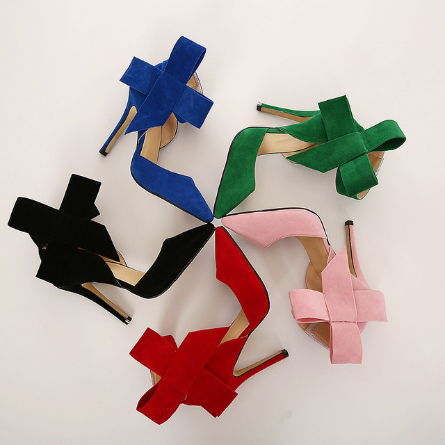 Women Plus Size bowknot Shoes Big Bow Tie Pumps Solid Butterfly Pointed Stiletto Shoes Woman High Heels Wedding Shoes Baok-621