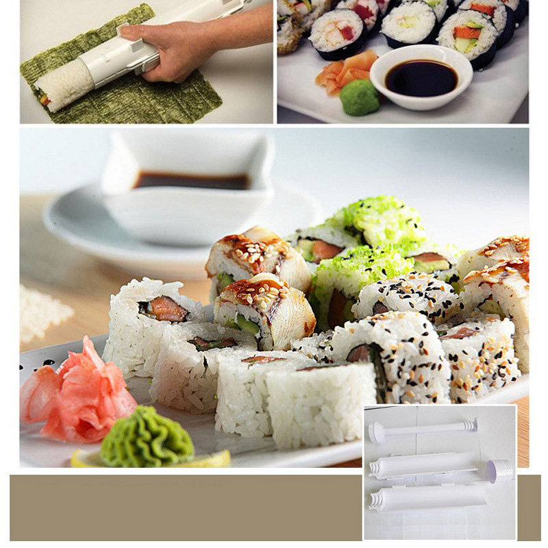 New DIY Sushi Maker Machine Roller Sushi Tools Roll Mold Making Kit Bazooka Rice Meat Vegetables Making Kitchen Gadgets Supplies
