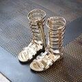 Детская одежда Обувь 2017 Новые Летние Девушки Высокого Рим Обувь Заклепки Сандалии Моды Ребенок Вырез Сандалии Для Девочки Zip Гладиатор Sandalies