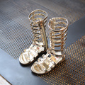 Kids Shoes 2017 New Summer Girls High Rome Shoes Rivets Sandals Fashion Child Cutout Sandals For Girl Zip Gladiator Sandalies