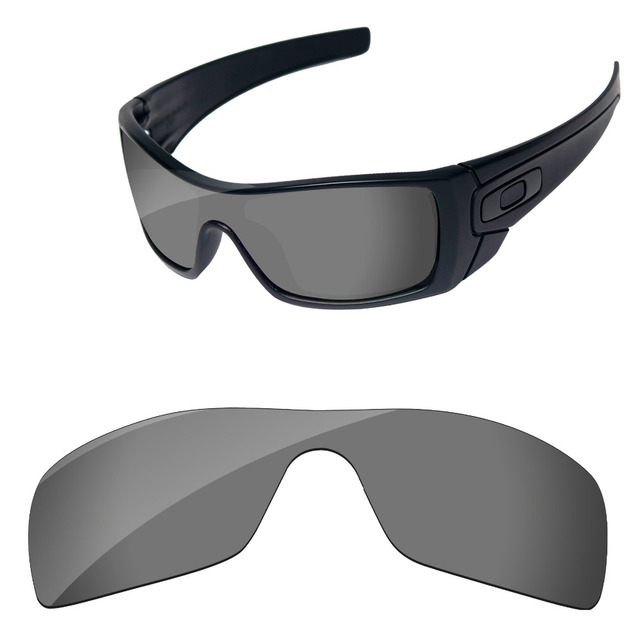 ed2e8770eb Cromo Negro espejo polarizadas lentes para Batwolf gafas de sol marco 100%  UVA y UVB
