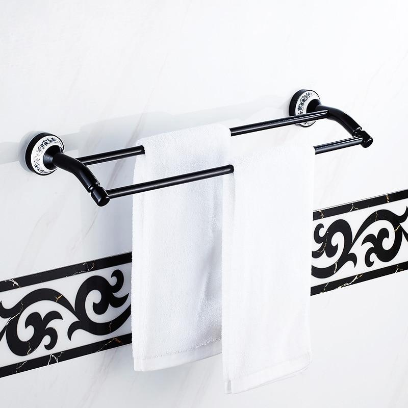 Space black double pole towel rack bathroom towel bar towel rack blue and white porcelain towel rack height ICD60036 bathroom towel racks wall hook bar double pole single pole rack bathroom
