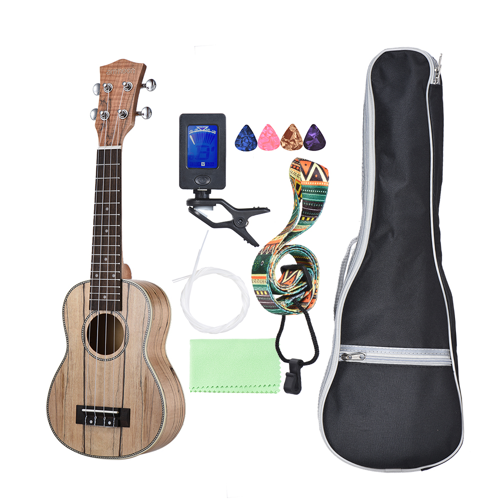 Sports & Entertainment Musical Instruments Frank Ammoon Soprano Ukelele 21 Inch Spalted Maple Body Rosewood Fingerboard Hawaiian Ukulele Set With Tuner Bag Cleaning Cloth Lustrous