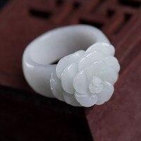 זרוק משלוח חם למכור טבעות הטבעי ירוק ירקן מגולף ביד ירקן jades נשים אופנה תכשיטי טבעת אצבע פרח רוז