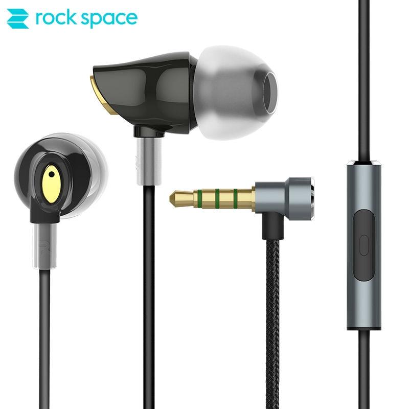 ROCK SPACE Zircon Stereo Earphone Strong Bass Earbud In Ear Earphones Hands Free Headset with Mic