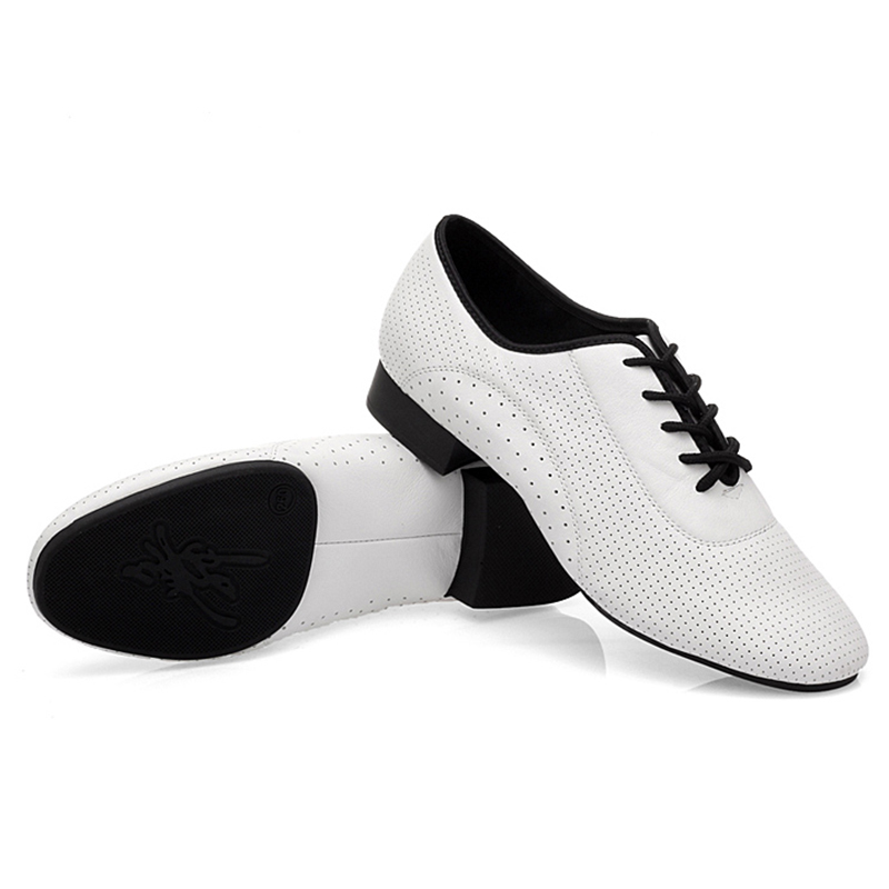 USHINE BD93 New Professional White Heel 2.5cm Real Leather Square BD Dance Shoes Latin Ballroom Dance Shoes Men Leather