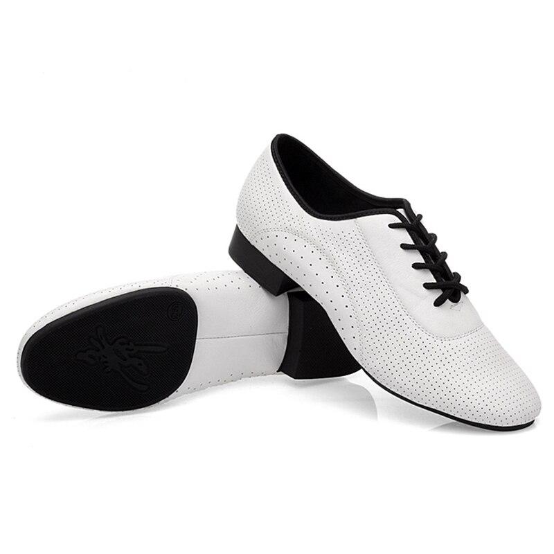 USHINE BD93 nouveau talon blanc professionnel 2.5 cm en cuir véritable carré BD chaussures de danse latine chaussures de danse de salon hommes en cuir