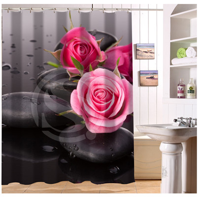 W522105 Custom Beautiful Red Blue Rose 7 Modern Shower Curtain Bathroom Waterproof Free Shipping Fj105 In Curtains From Home Garden On