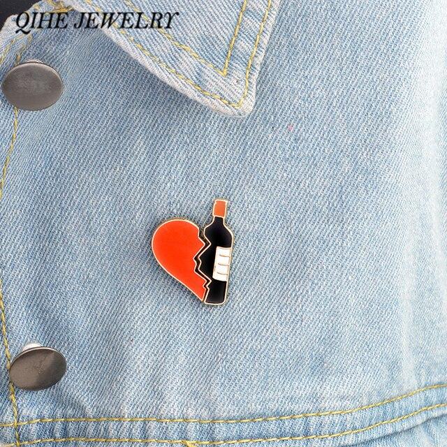 Qihe jewelry 2 шт./компл. эмаль контакты набор бутылки вина и сердце брошь персонализированные набор из 2 сердце вина булавки подарок для любителей вина