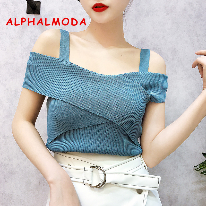 ALPHALMODA 2018 Summer Ladies Knitted   Tank     Tops   Cross Chest Pullovers Women Summer Solid Casual Knitting Sling   Tops