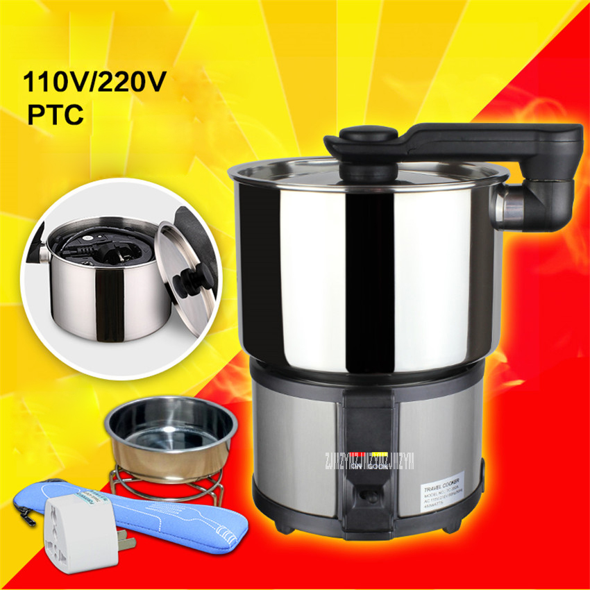 TC-350A 110V/220V Dual voltage portable travel pot stainless steel 1-2 people electric cup electric cooker mini Multi Cookers cukyi stainless steel electric slow cooker plug ceramic cooker slow pot porridge pot stew pot saucepan soup 2 5 quart silver