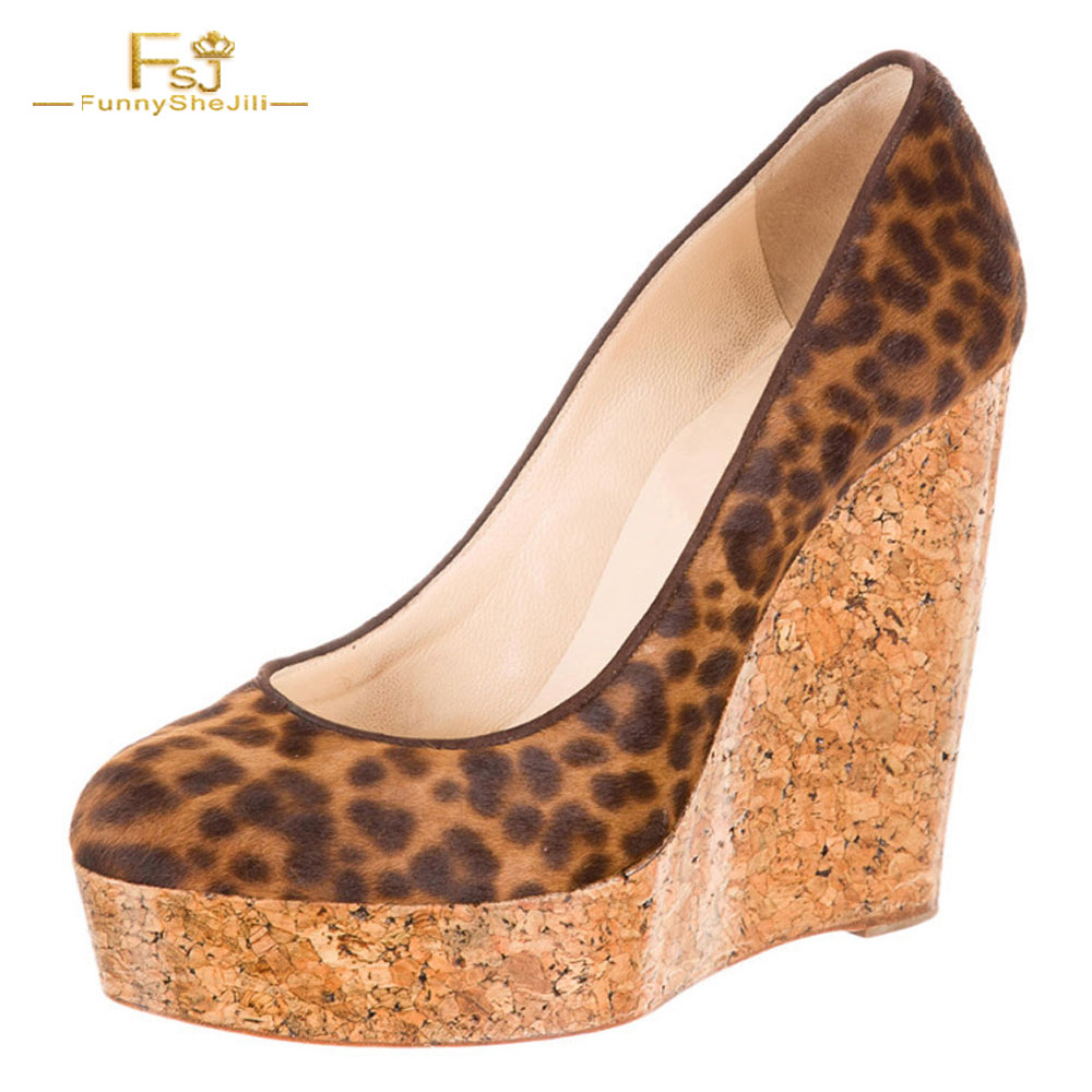 Wedges Pumps Leopard Woman Shoes Platform 5CM Pointed Toe Flock High Heels Party Slip On Casual Summer 2018 Zapato De Leopardo newest flock blade heels shoes 2018 pointed toe slip on women platform pumps sexy metal heels wedding party dress shoes