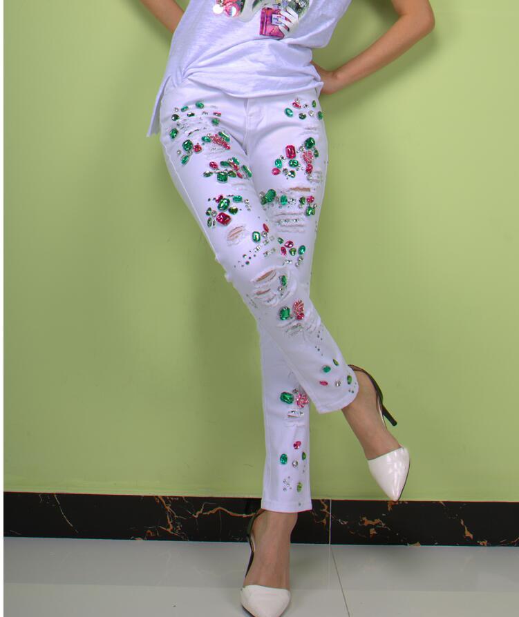 Jeans Crayon 30 Blanc Skinny Taille De Mode Perlée Stretch White 25 Perle Déchiré Perles Plus Femmes La Denim cqfpASUan8