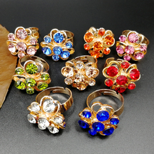 1pcs Adjustable Fashion Multi Color Rhinestone Luxurious Flower Finger Rings Band for Women Female Party Jewelry newest viennois fashion jewelry gun color geometric finger rings for woman rhinestone and crystal party accessories