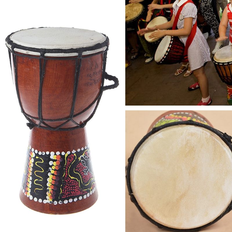 4 inch Professional African Djembe Drum Bongo Classic Painting Wood African Djembe Good Sound Musical Instrument