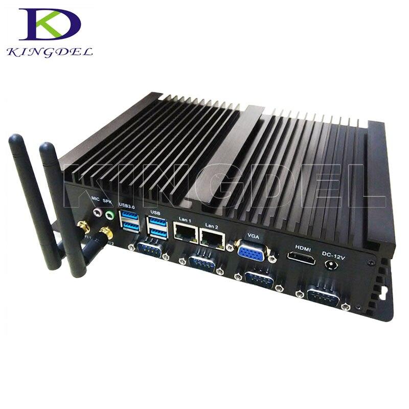 Бесплатная доставка двойной RJ45 LAN игр PC 4 г Оперативная память 64 г SSD безвентиляторный промышленный Мини-ПК рабочего Intel Celeron 1037u Blu-Ray 1080 P 4 * COM ...
