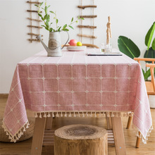 Modern Rectangle Table Cloth Pink Embroidered Stripes Plaid Stitching Linen Cotton Christmas Tablecloth Home Textile