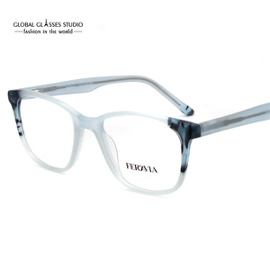Image 3 - Moda itália design óculos para mulher azul preto acetato óculos de armação óptica óculos de lente limpa fvg7096