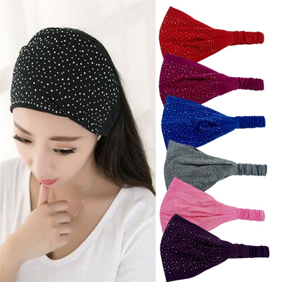 Gypsophila Rhinestone   Headwear   For Women Rhinestone Head Wrap Soft Headwrapscarf Headband Elasticity Headdress Hair Accessories