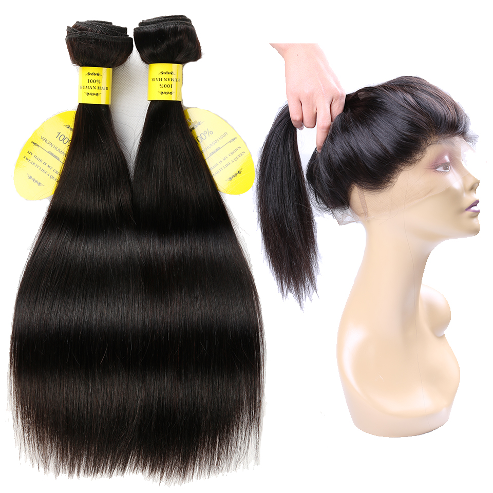 Queenlike Hair Products 2 3 Bundles Brazilian Straight Hair Weave Bundles With Closure Non Remy 360