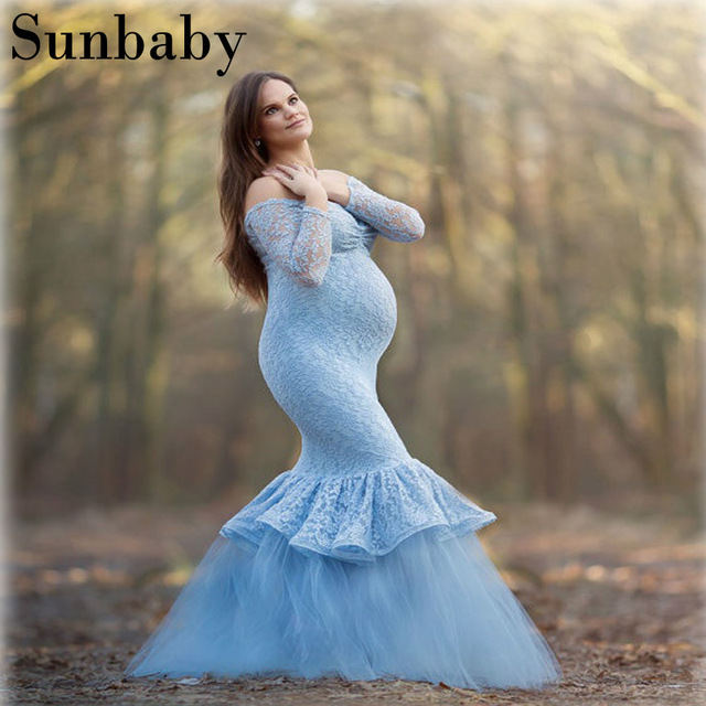38adbff0ce3e1 2017 Winter Fashion elegant vestidos lace long sleeve Mermaid yarn pregnancy  dress photography clothes for pregnant women