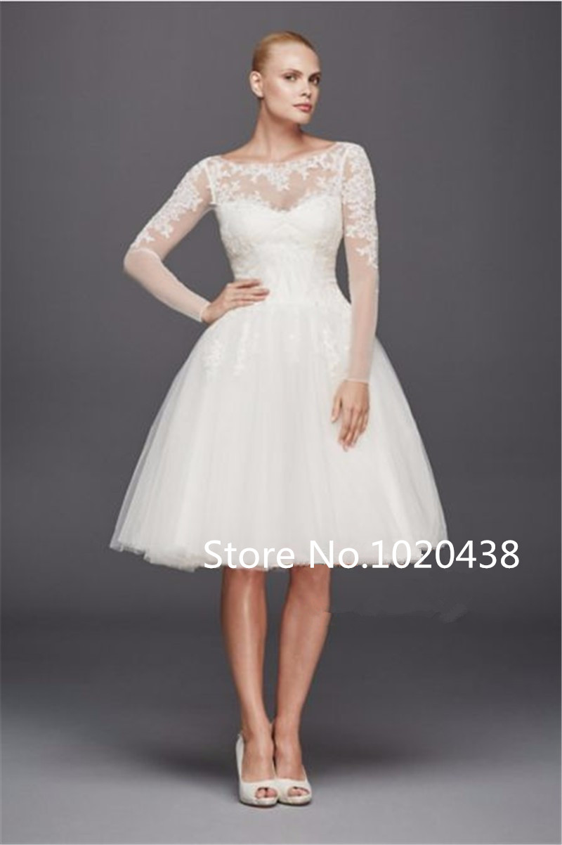 Scoop Long Sleeves Short Shimmering Lace Appliques Knee Length Sexy vestido de noiva Bridal gown 2018   bridesmaid     dresses