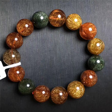 купить 14.5mm Natural Colorful Rutilated Quartz Crystal Bracelet Women Gift Charms Round Bead Stone Cat Eye Stretch Bracelet Jewelry по цене 11101.61 рублей
