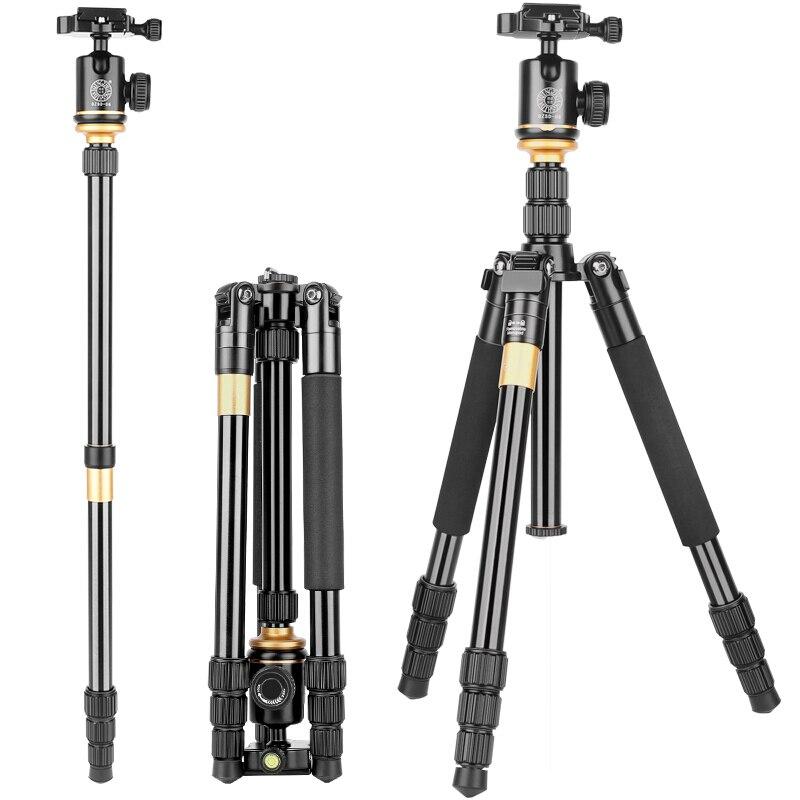 Q999S Aluminum tripode 360 panoramic damping ballhead tripe 55.5 inch dslr digital video professional tripod monopod for camera