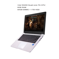 GMOLO 14inch ultrabook laptops Intel N3450 quad core processor 6GB RAM64GB EMMC SSD 1TB HDD HDMI camera Windows 10 laptop