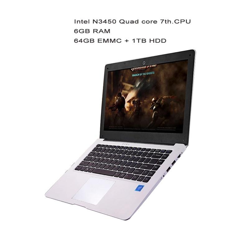 GMOLO 14inch Ultrabook Laptops Intel N3450 Quad Core Processor 6GB RAM64GB EMMC SSD 1TB HDD HDMI Camera Windows 10 Laptop