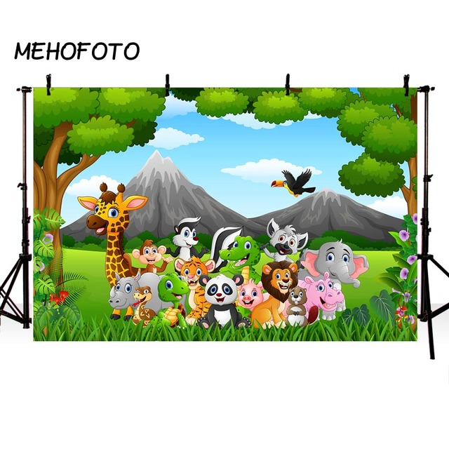 jungle safari party photography backdrop animals forest photo booth