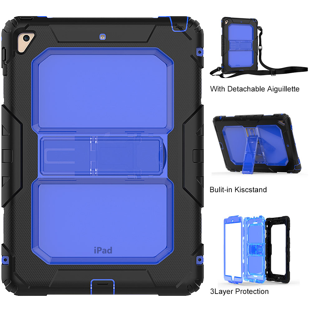 Coque Case for iPad Air 2 3 in 1 Hybird Armor PC Silicone Cases Kid Shockproof Stand Cover Capa for iPad 6 9.7 inch Tablet coque case for ipad air 2 durable heavy duty 3 in 1 hybrid rugged case shockproof cover capa for ipad 6 9 7 case with stand