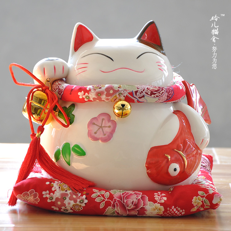 Lucky cat Home Furnishing / cute piggy bank opened decoration large ceramic pot of gold Baoyu savings