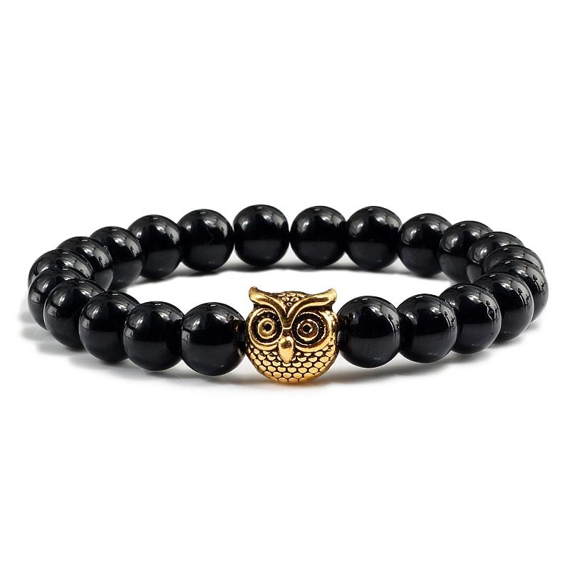 Fashion Vintage Owl Natural Stone Matte Beads Bracelet & Bangle Men Women Charm Stretch Black Lava Stones Yoga Bracelets Jewelry