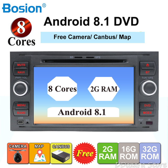 2 din android 8.1 octa cores car dvd player gps for ford focus 2/mondeo/s max/c-max/fusion/fiesta/transit radio head unit canbus