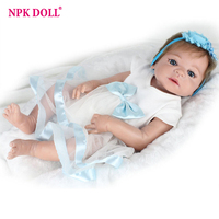 NPKDOLL 22 inches Doll Reborn Full Silicone Bebe Girl Doll Blue Eyes Child Birthday Gift Realistic Adorable Babies Born Dolls