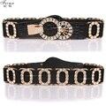 Mujeres de moda lover letra o de la correa elástica mujeres de diamante de la cintura elástico ampliado correa de accesorios de ropa