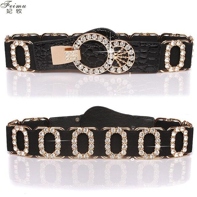 Women's fashion rhinestone letter o elastic belt women's diamond elastic waist the broadened strap clothes accessories