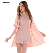 BXMAN Brand robe Sexy women lingerie high quality with 3 color sexy women long silk robe  soft&comfortable lenceria female sleep