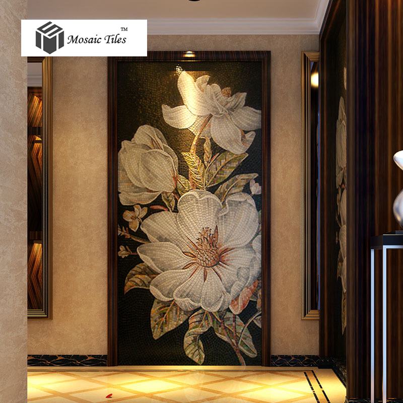 Floral Mosaic Bisazza Hand Made Backsplash Wall Entrance
